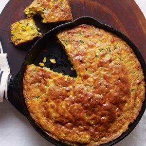 Pati Jinich cazuela de pan de elote con poblanos tocino y queso cheddar