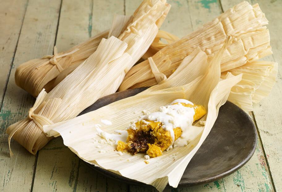 pati jinich tamales de camote con frijol
