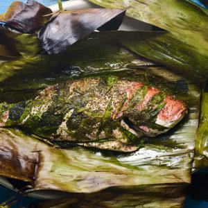 Pati Jinich pescado envuelto en hoja de plátano