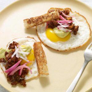 Pati Jinich taco frito de huevo con pipián de piñón
