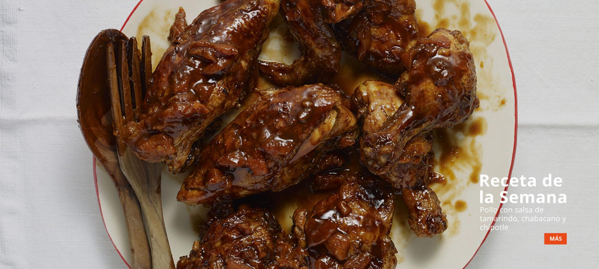 receta de semana pollo con salsa de tamarindo, chabacano y chipotle