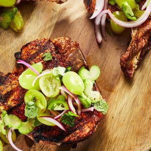 chuleta de cerdo con chile