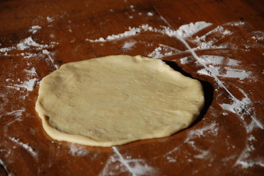 bunuelos dough flattened