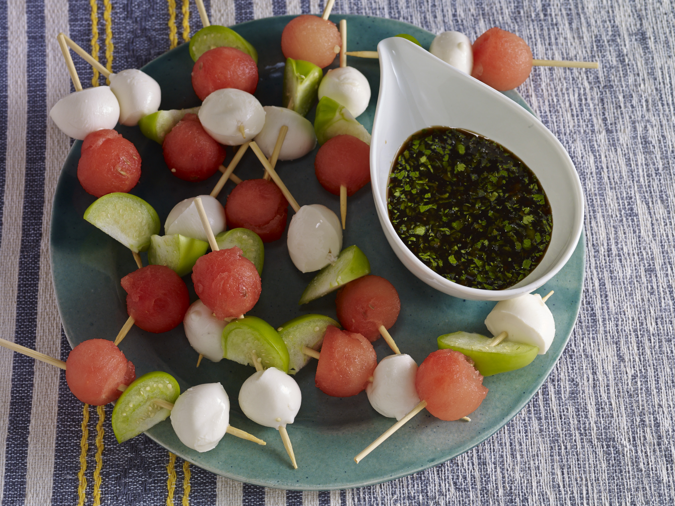 watermelon tomatillo mozzarella skewers