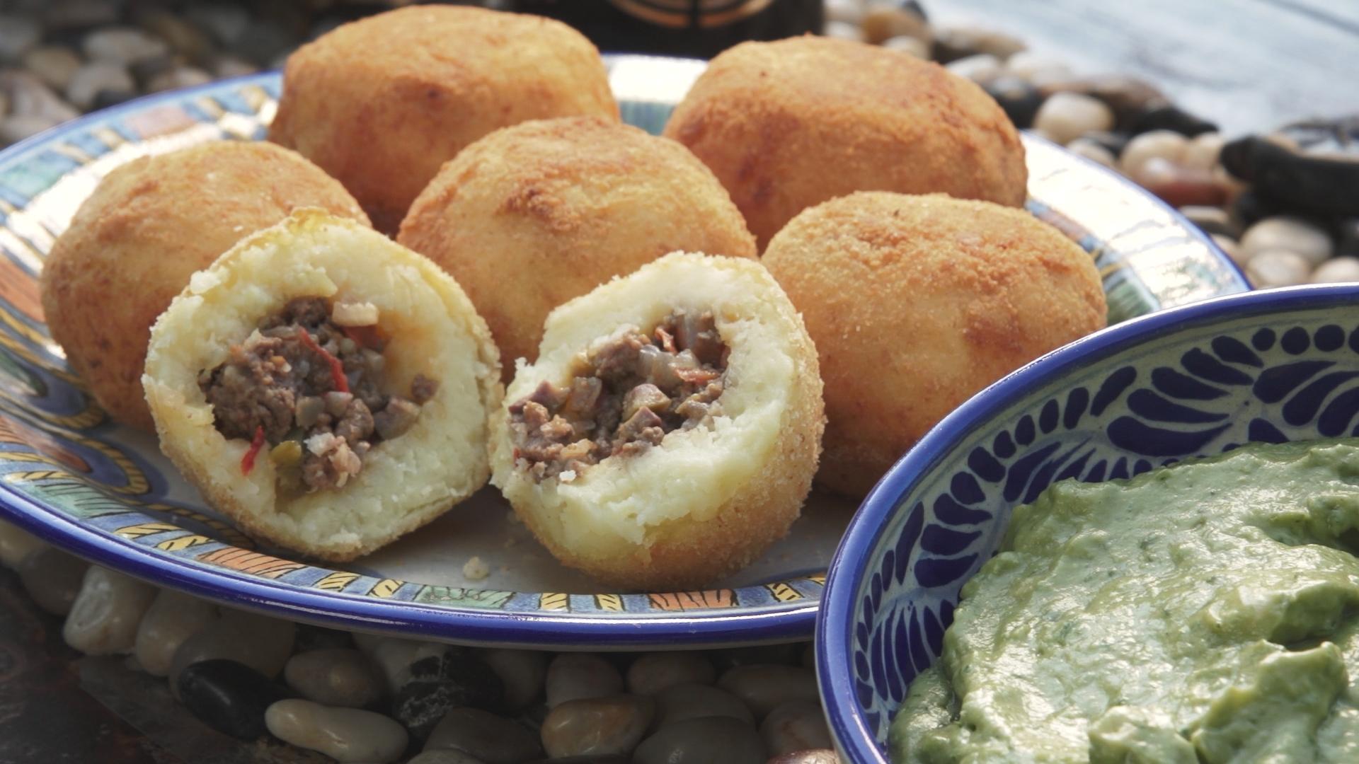 papa rellenas with avocado sauce