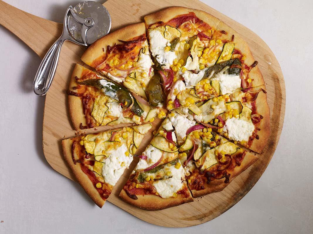poblano corn zucchini pizza