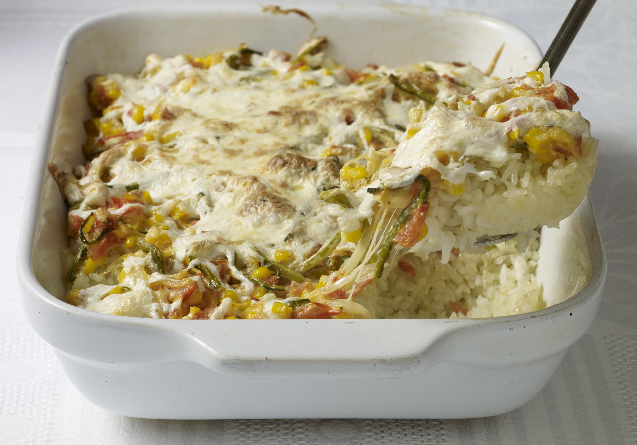 white rice poblano rajas casserole