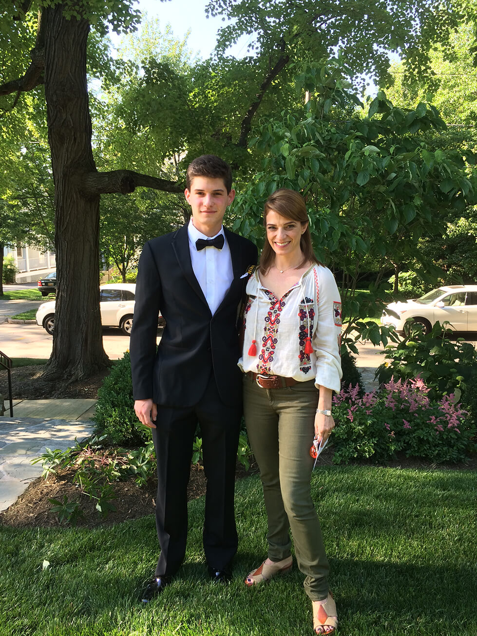 Pati Jinich with her son before his prom