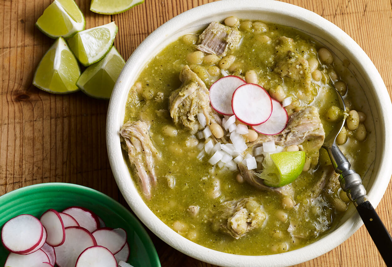 Pati Jinich mole verde with pork and white beans