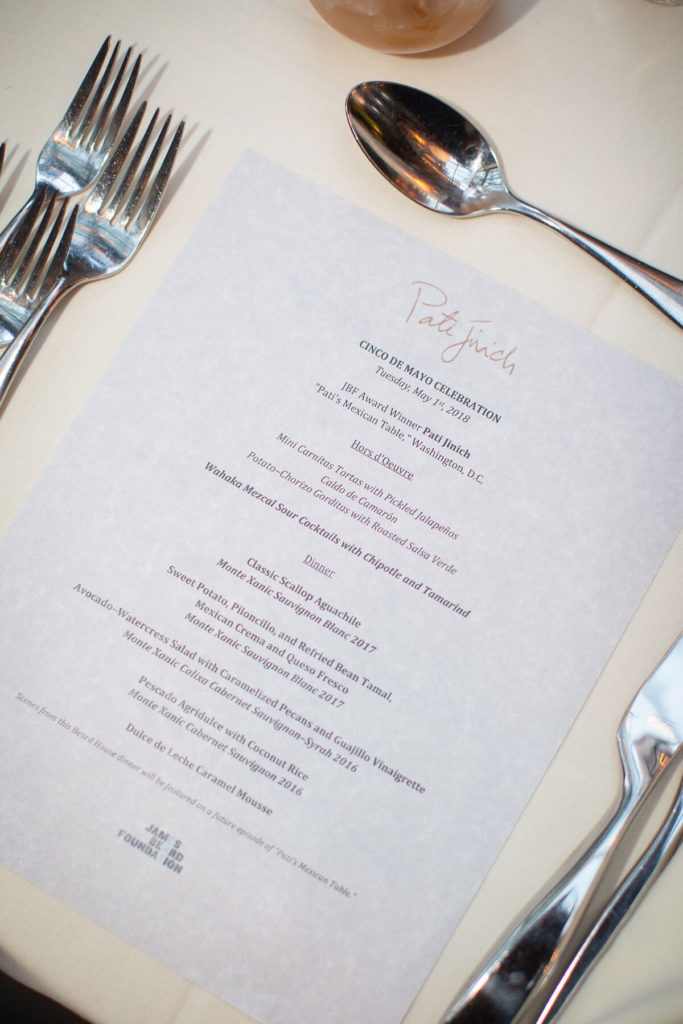 menu from the dinner at the James Beard House
