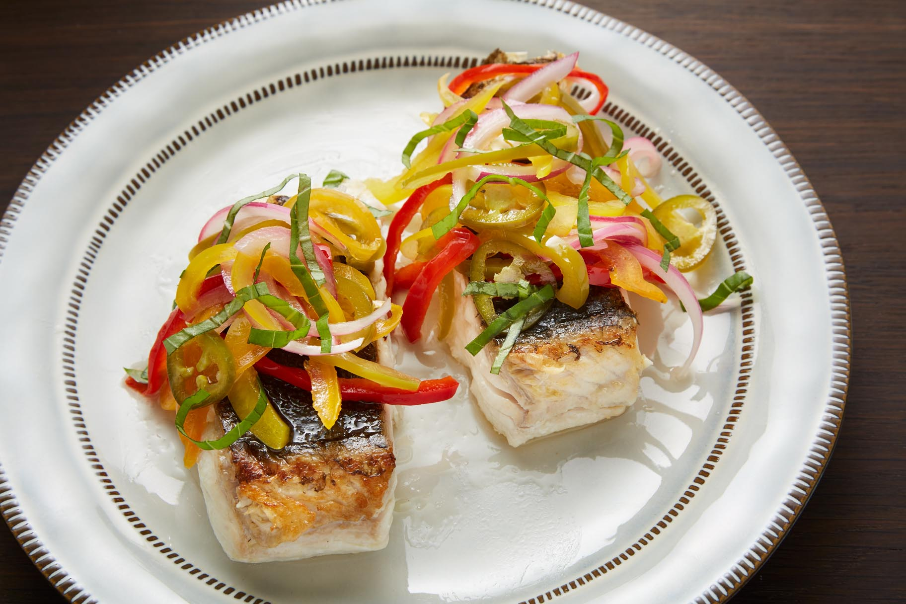 Pan Seared Halibut with Five Pepper Sauce