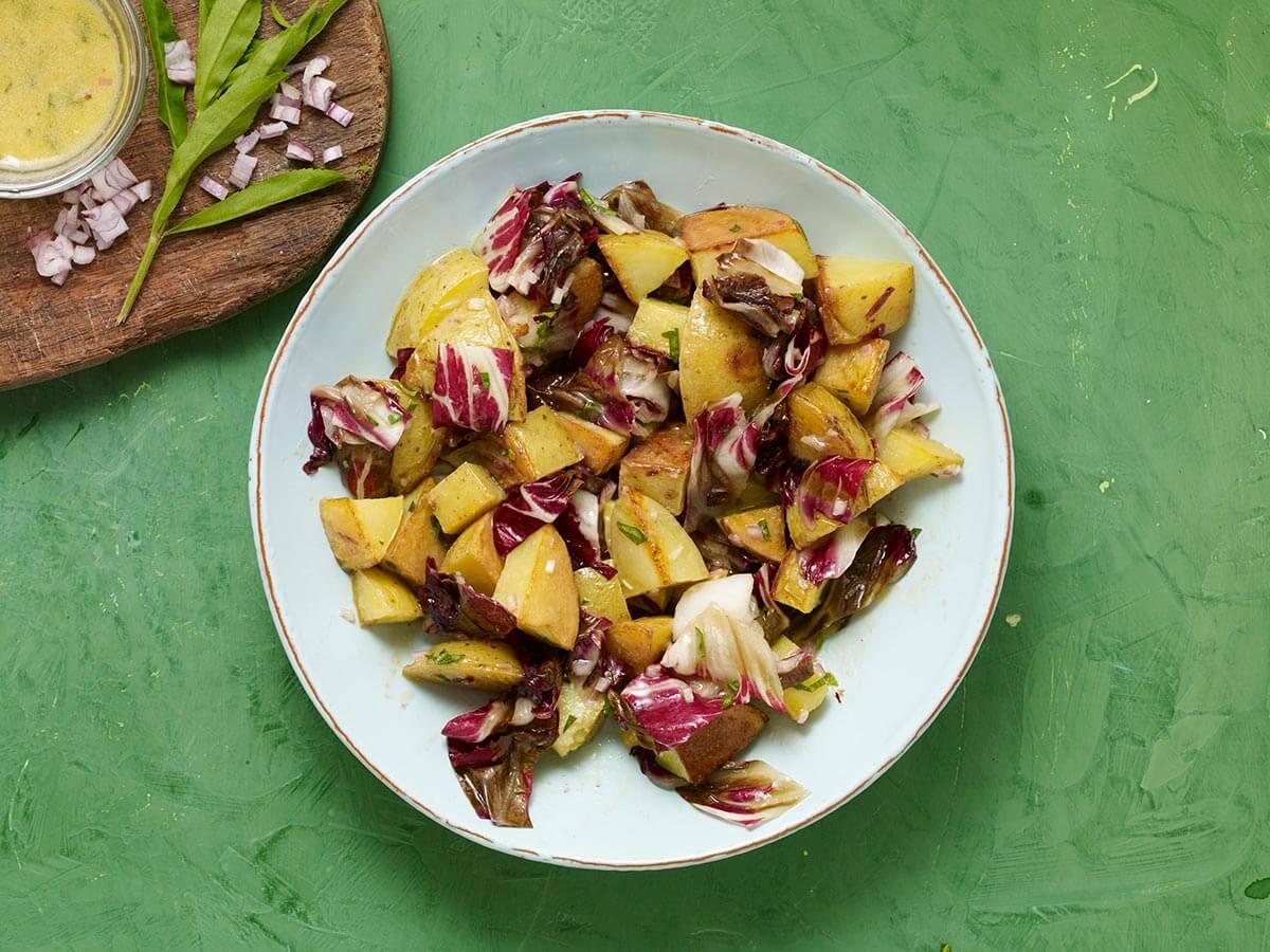 grilled potato and radicchio salad