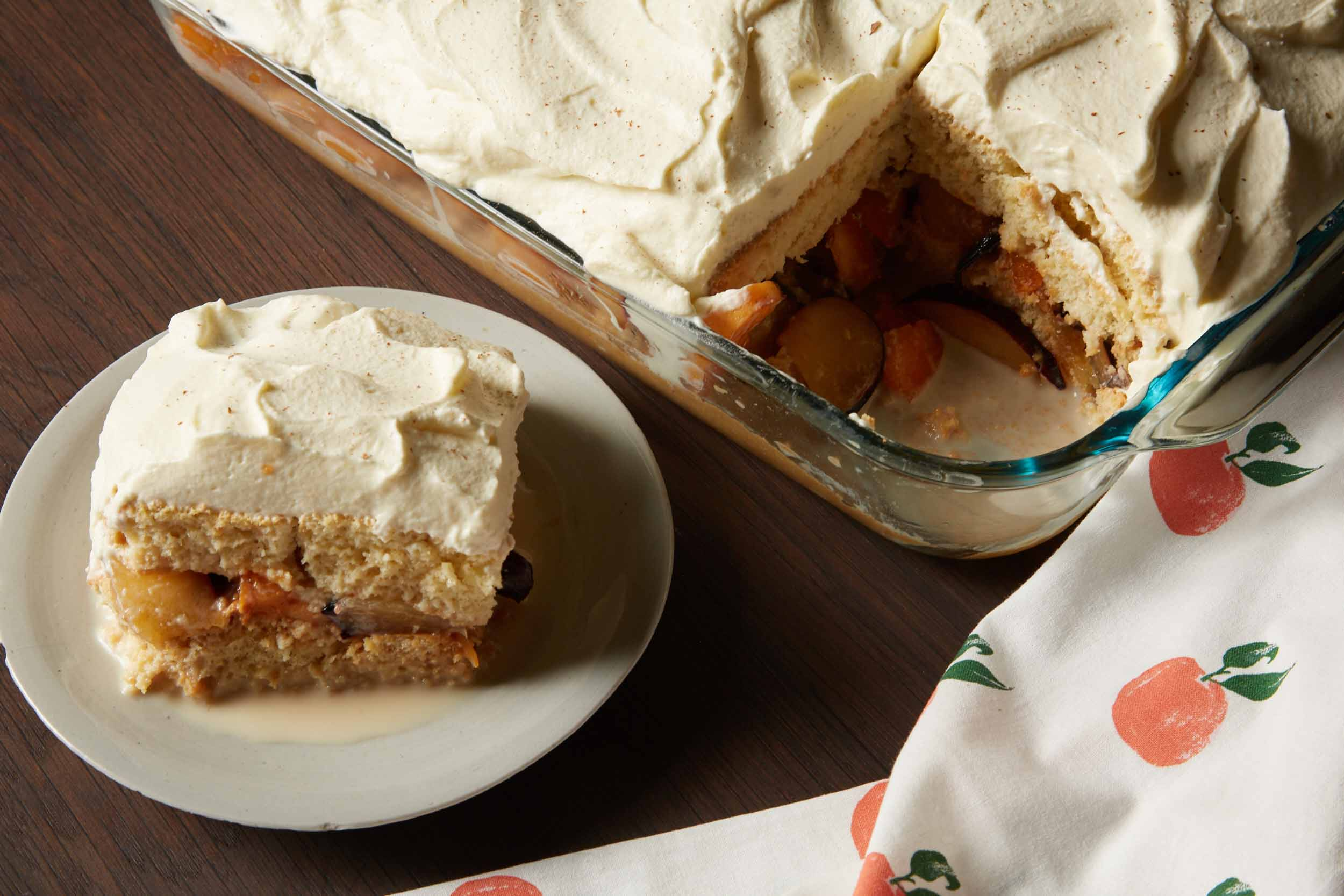 Cuatro Leches Cake with Plums and Apricots