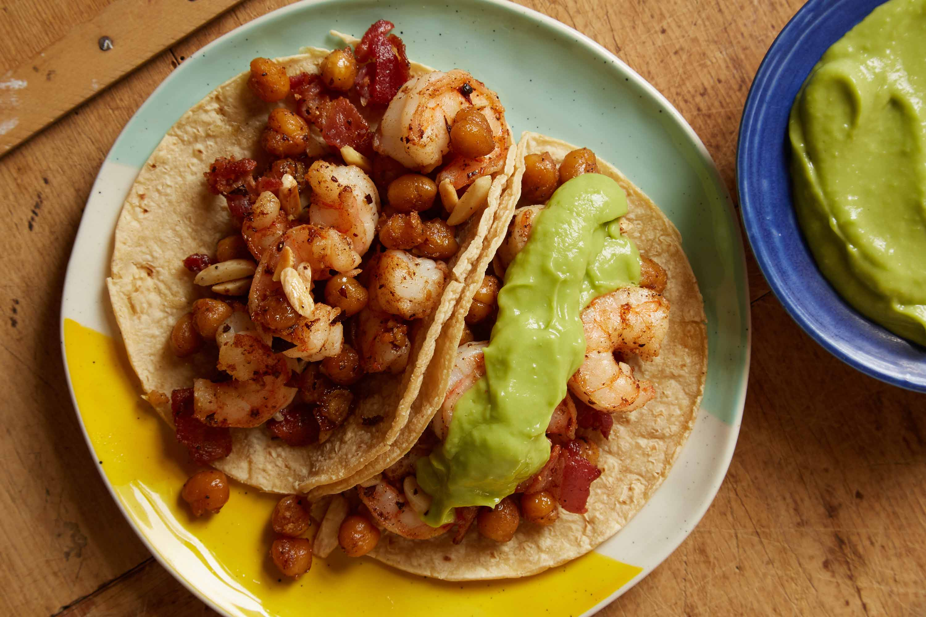 Shrimp, Bacon and Crispy Chickpea Tacos with Smooth Guacamole