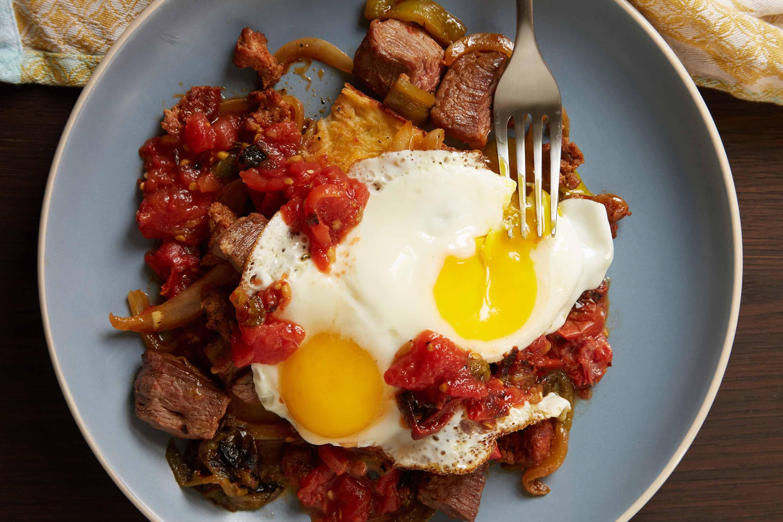 Sinaloa Steak and Eggs over Potato Hash with Roasted Salsita