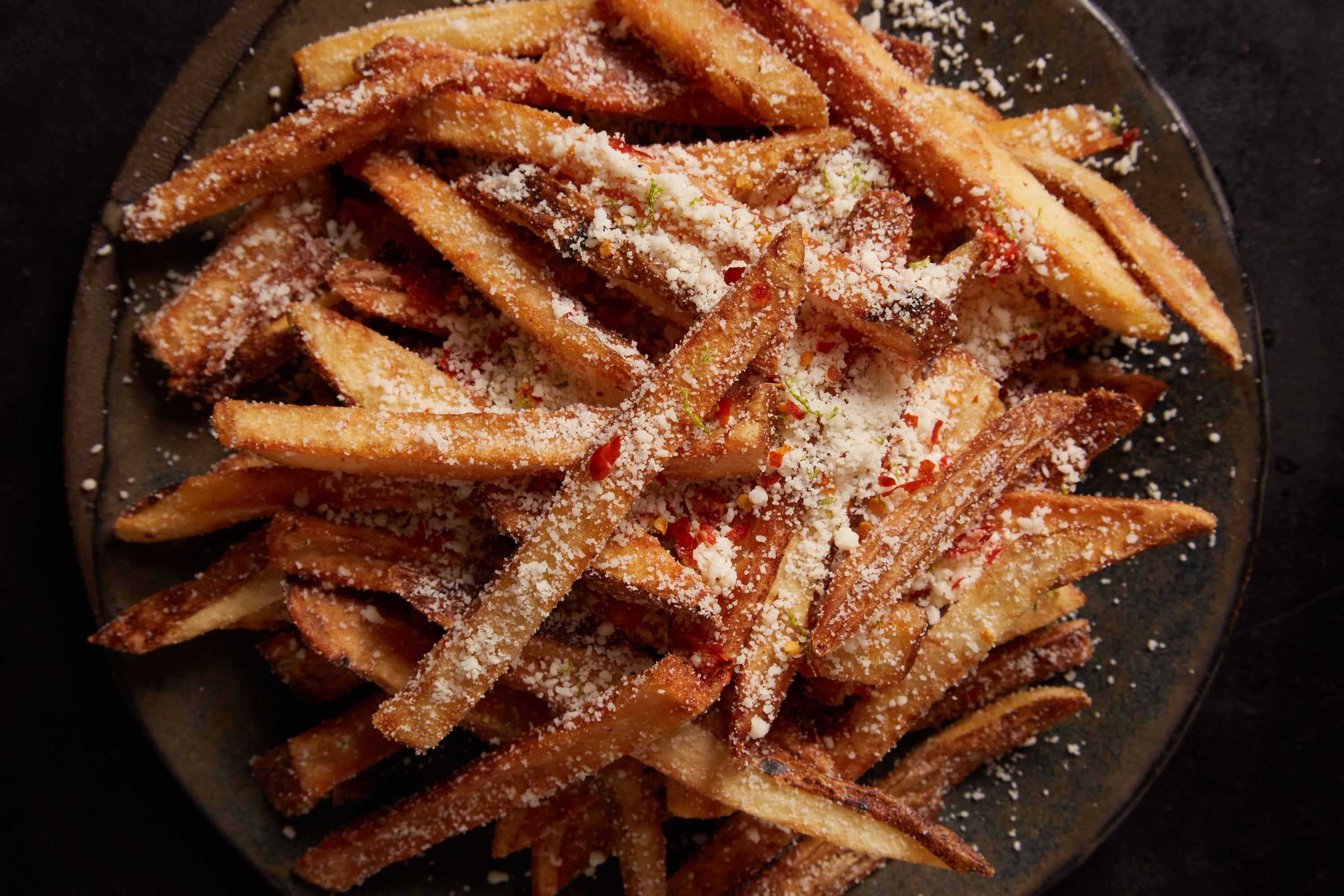 French Fries with Chiltepín Salt and Cotija