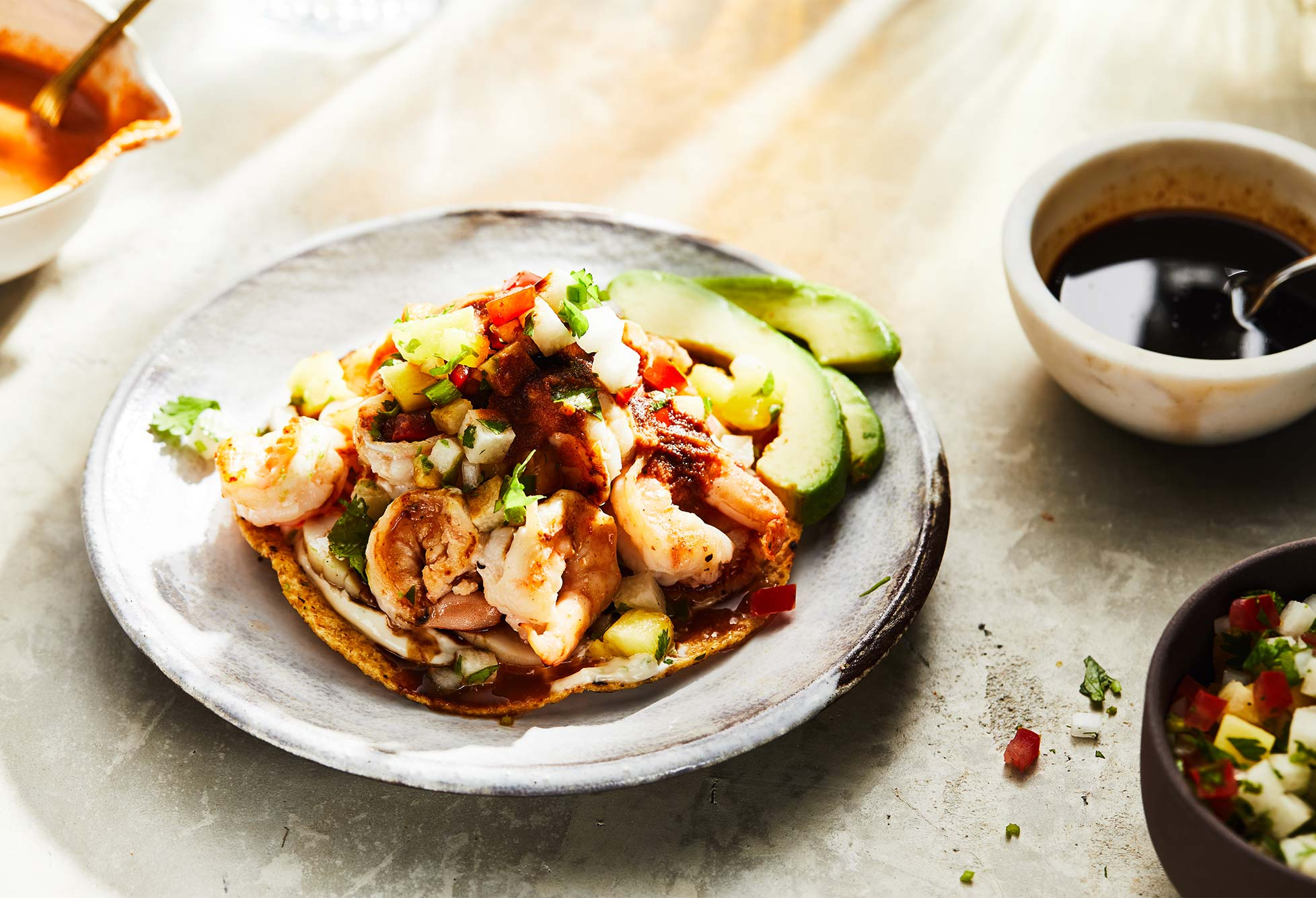 Sonoran Style Shrimp and Scallop Tostada