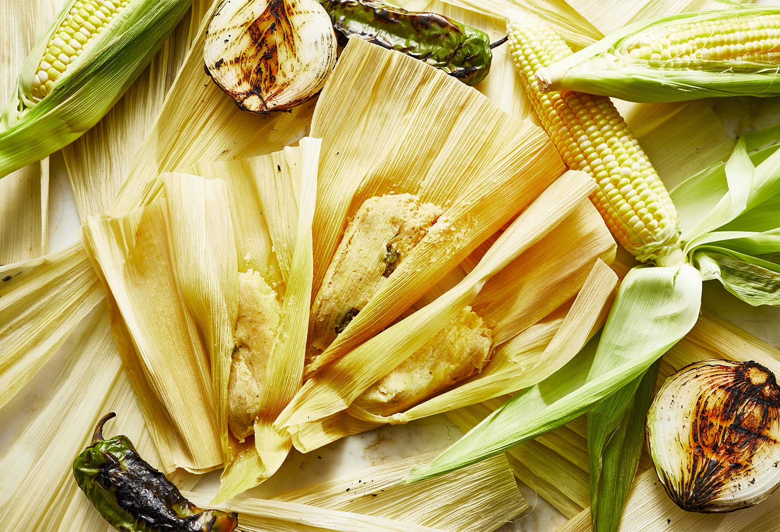 Corn, Cheese and Chile Verde Tamales
