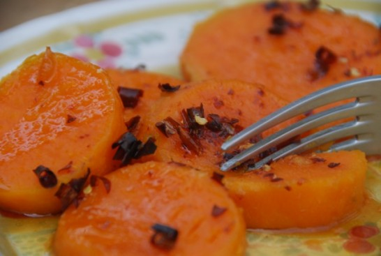 sweet potatoes with orange piloncillo syrup