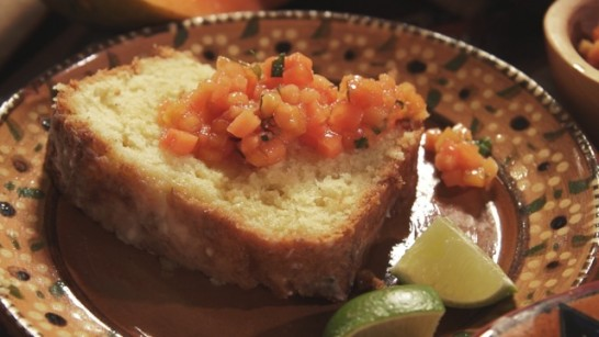 Triple Lime Pound Cake with Papaya Relish