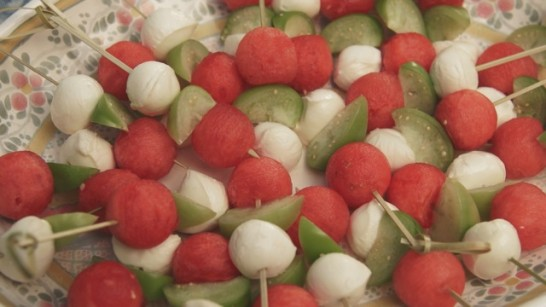 Watermelon, Tomatillo & Mozarella Skewers