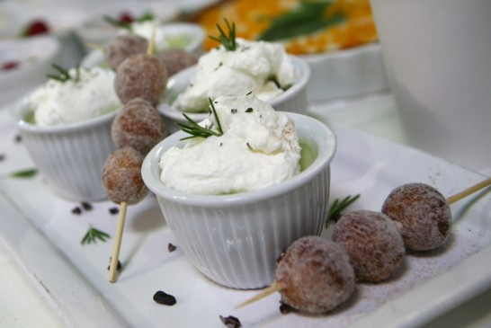 Avocado Panna Cotta with Zeppole on the side
