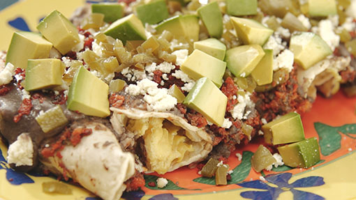 Black Bean Sauce Egg Enchiladas with Chorizo and Queso Fresco