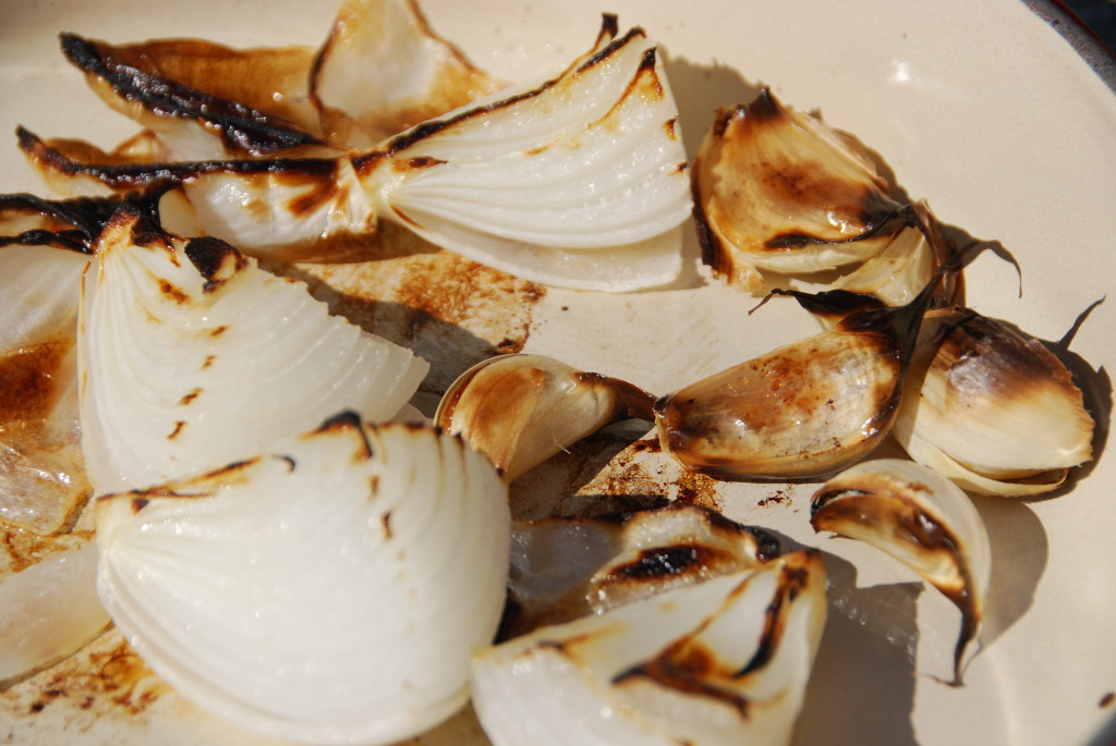 charred onion and garlic