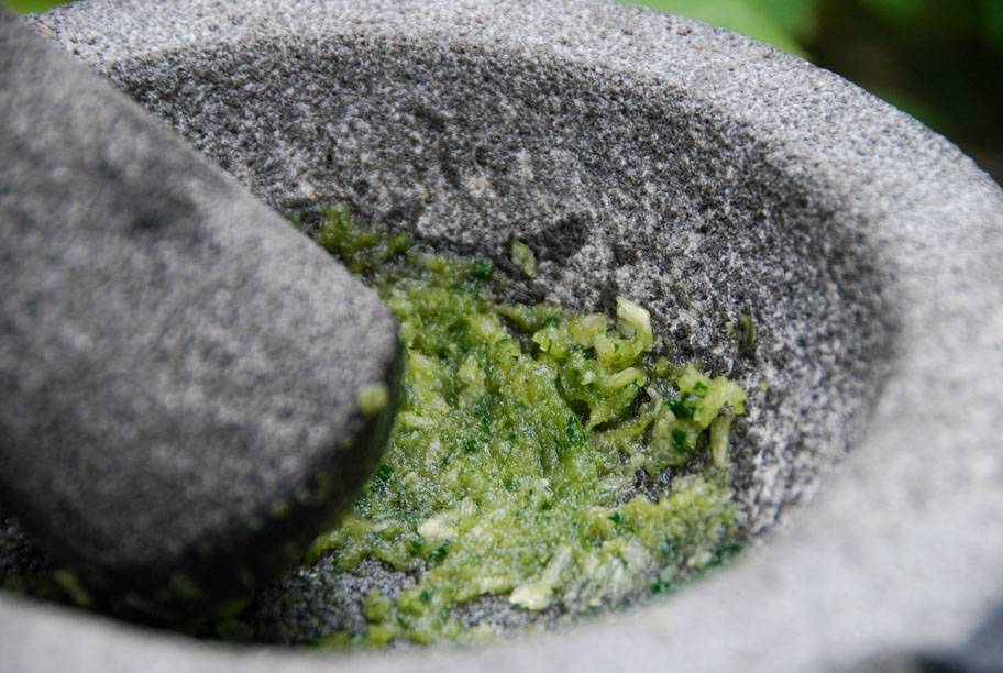 mint and garlic mashed in a molcajete