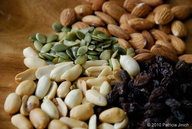 pepitas, almonds, peanuts, raisins