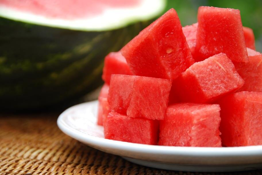 chopped up watermelon