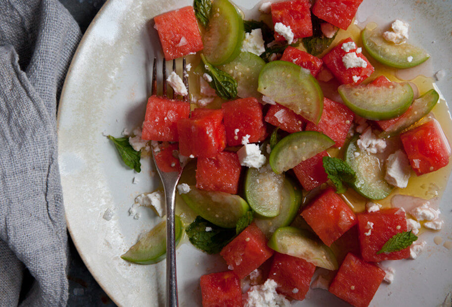 watermelon and tomatillo salad with feta cheese