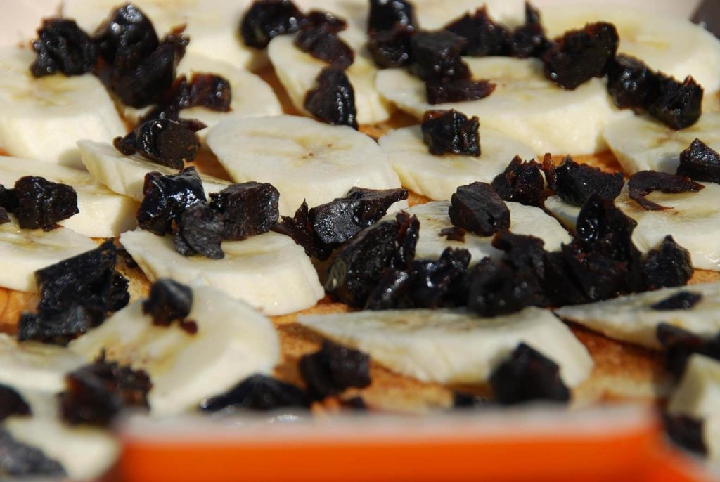 pati jinich capirotada top bread and banana with prunes