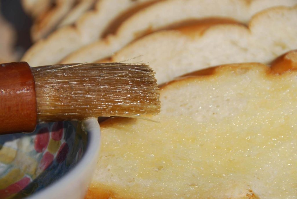 pati jinich capirotada brush bread with butter