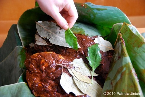 barbacoa with banana leaves