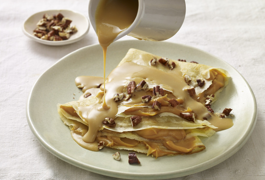 Cajeta Crepes with Toasted Pecans