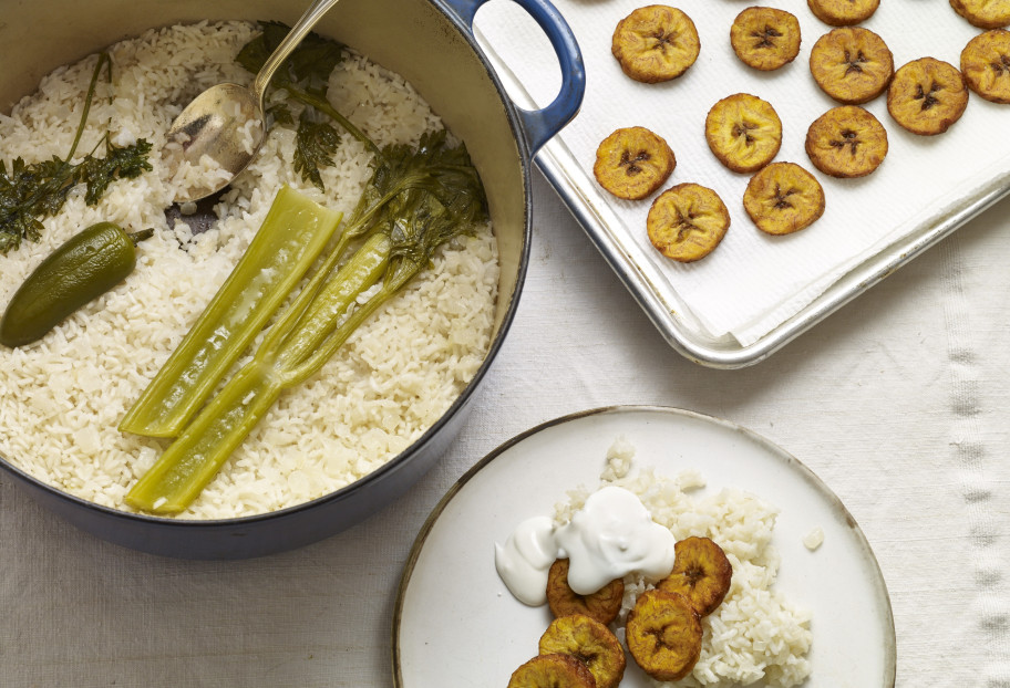 White Rice and Fried Plantains