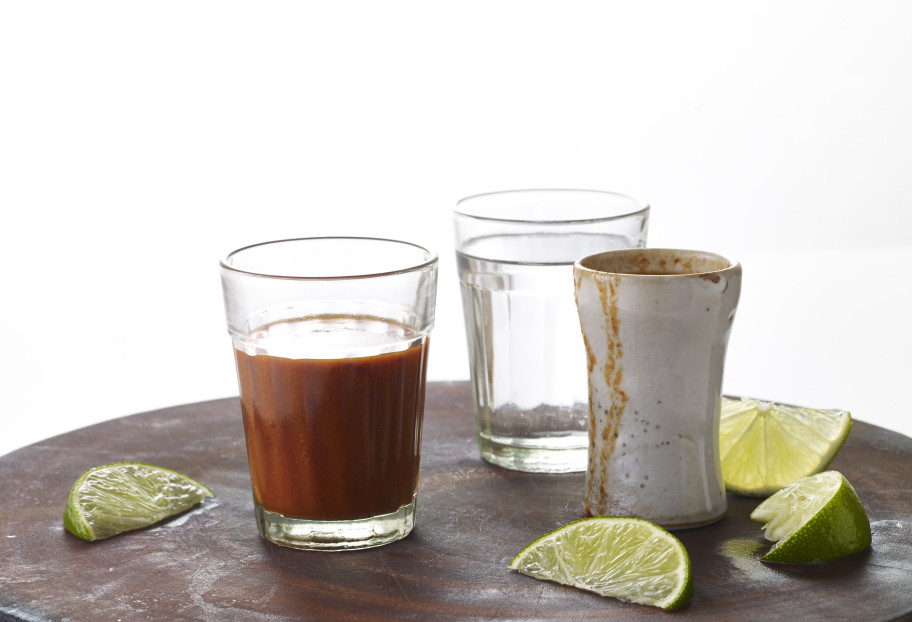 Ancho Chile and Orange Juice Tequila Chaser