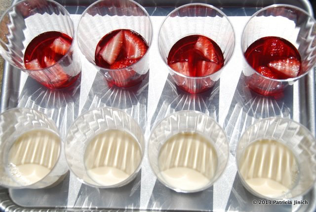 Tres leches and Strawberry Jello on Tray