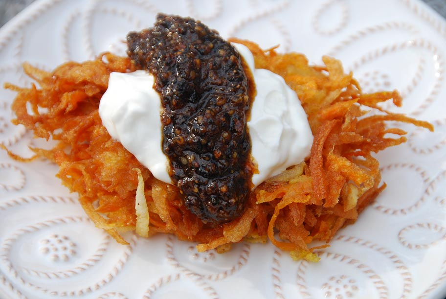 sweet potato and granny smith apple latkes