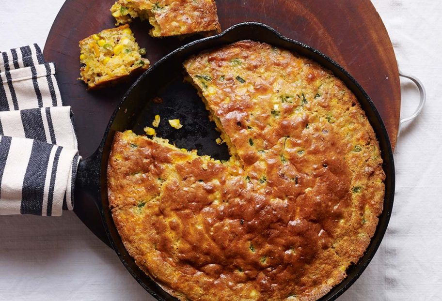 Poblano, Bacon and Cheddar Skillet Cornbread