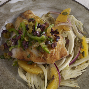 fish over fennel salad with olive salsa