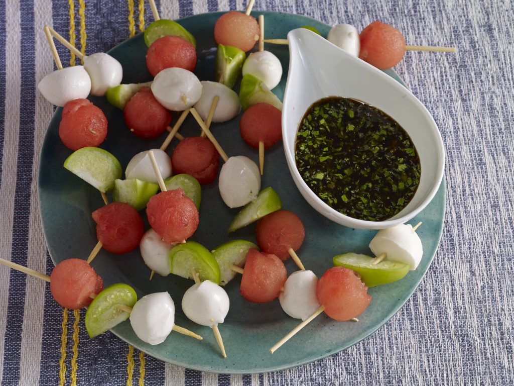 watermelon tomatillo mozzarella skewers