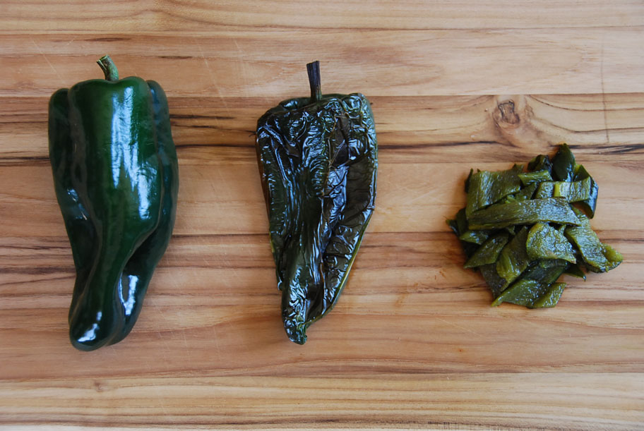 prepping poblano chiles
