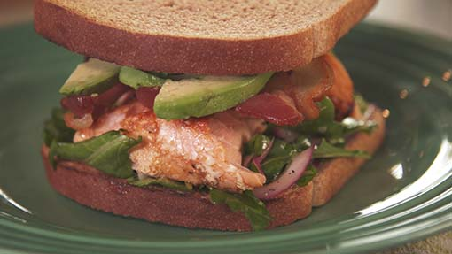 Chipotle Salmon, Bacon and Avocado Sandwich
