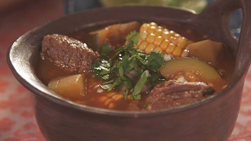 Beef and Veggie Mole Stew or Mole de Olla