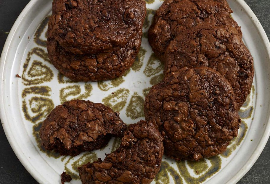 Chocolate Cookies with Hibiscus Flowers