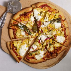 Poblano, Corn and Zucchini Pizza