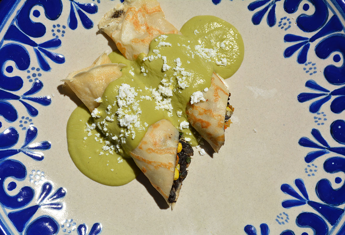 huitlacoche, corn and squash blossom crepes
