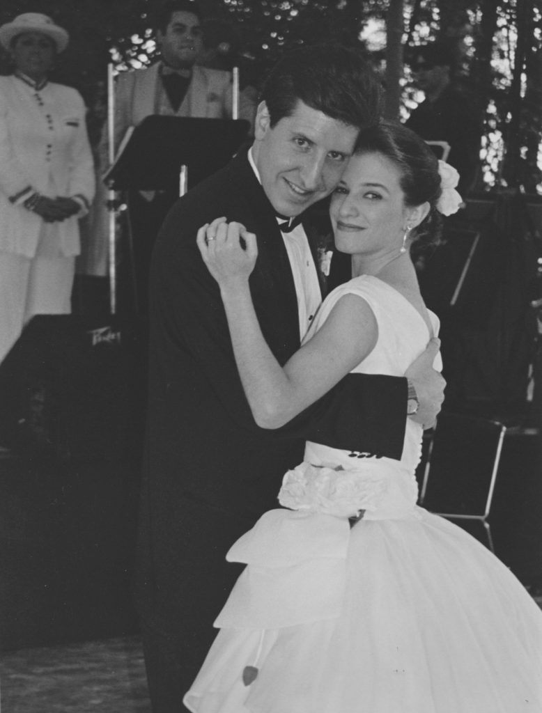 pati and her husband daniel at their wedding